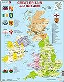 Larsen K18 Mapa político de Gran Bretaña e Irlanda, edición en Inglés, Puzzle de Marco con 48 Piezas