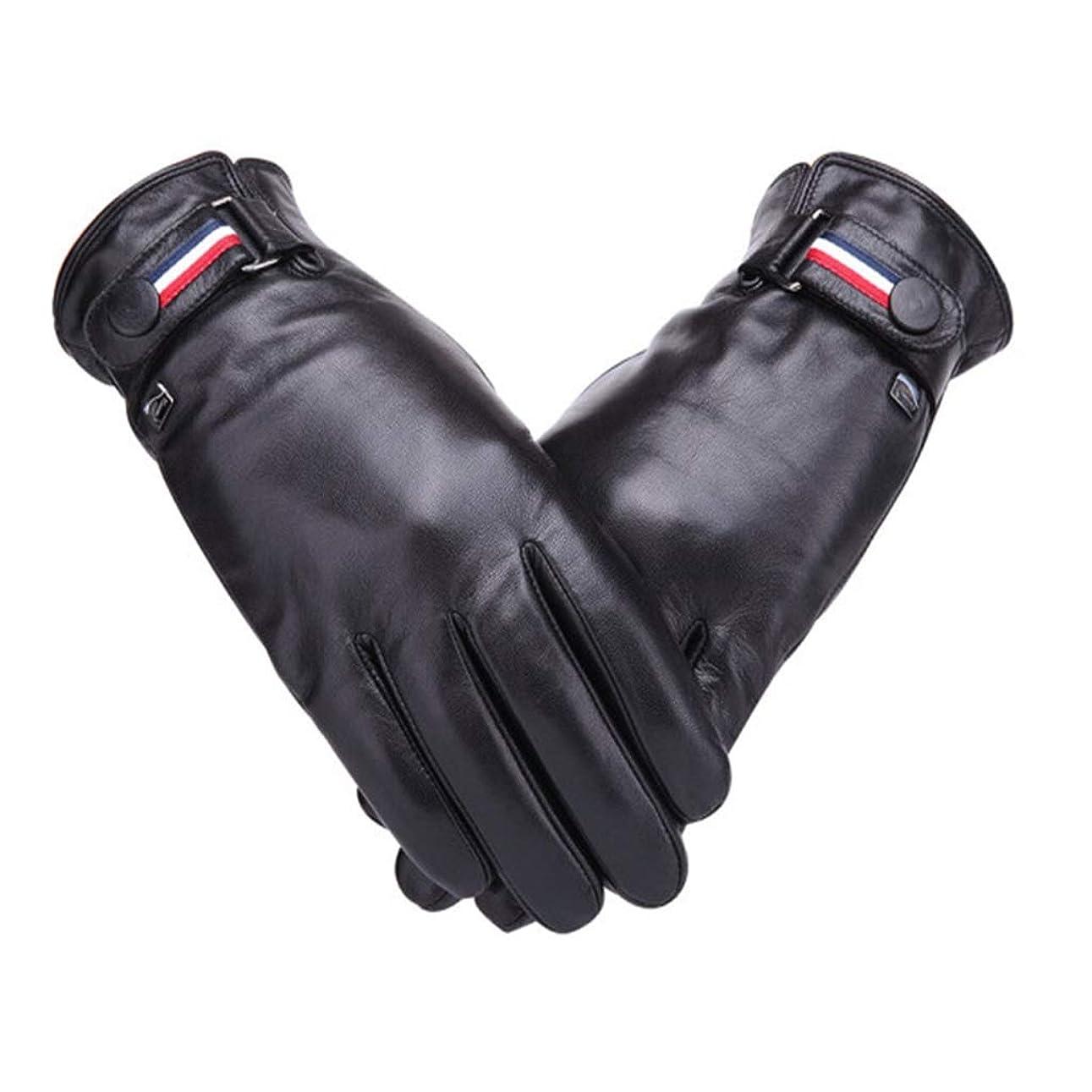 ティッシュ民族主義キャプション羊皮の手袋の男性秋と冬のサイクリングwindproof暖かいプラスベルベットの肥厚の男性の手袋