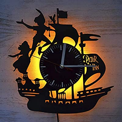 Peter Pan Fictional Character Design Vinyl Wall Clock Original Design Wall Clock Vintage Unique Home Wall Decor Birthday Gift Idea for Her Him Adults Kids