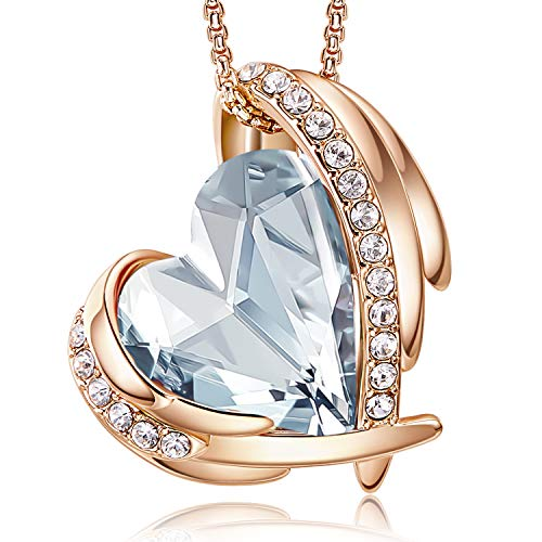CDE 18K Rose Gold Necklace for Women Love Heart Crystal Pendant Necklace Birthday Anniversary Christmas Jewellery Gifts for Her Wife Mum Girlfriend (Rose Gold blue)