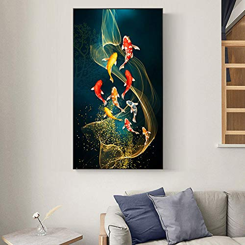 XIANGPEIFBH Printed On Canvas Chinese Style Red Koi Lucky Carp Fish Goldfish Poster Entrance Home Decor Picture Wall Art 60x120cm Unframed