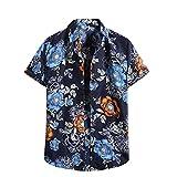 Camisa hawaiana para hombre, de verano, informal, con flores, manga corta, corte ajustado. D_azul. XL