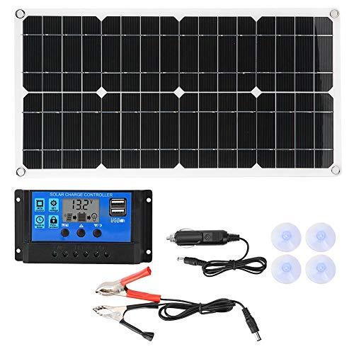 Solar Panel Kit, 50W Tragbares Solarpanel Solarmodul, Dual USB Solarladeregler mit LCD Display, Solaranlage Wohnmobil Komplettset Solar Ladegerät für Wohnmobil/Auto/Camping/Boot(30A)