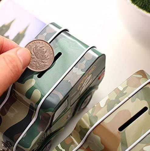 Gwill Creativo de coches militares modelado hojalata dinero caja de monedas niños almacenamiento de regalo ahorro de alcancía en color al azar