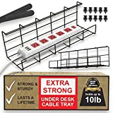 Scandinavian Hub Bandeja Organizadora Cables para Debajo de la Mesa o Escritorio – Organiza sin Nudos los Cables de tu Ordenador - para Hogar u Oficina (Negro - Set de 2X 40,5cm)