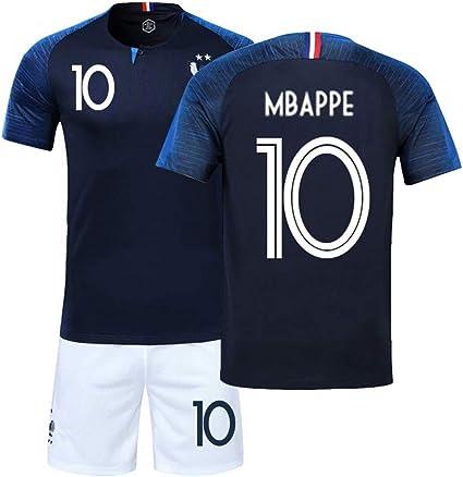 LJP FFF - uniforme da calcio; completo della squadra francese - Coppa del Mondo 2018; completo maglia e pantaloncini - 2 stelle, No.10, 20