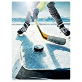 HommomH 50x80 Inch Hockey Sports Soft Blanket Fluffy Cozy Throw Keep Warm Easy Care Bedding Kids Sofa Machine Washable Ice Hockey Player with Stick and Puck Mountain Background
