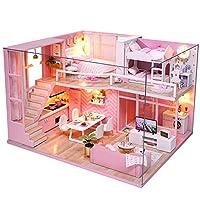 CuteBee DIY木製ドールハウス、メゾネットタイプ、手作りキットセット、ミニ家具工芸品キット、ミニチュアコレクション、付属LEDライト、音楽ボックス、防塵カバー、電池AAA*2必要、DREAM ANGELS(ドリームエンジェル)