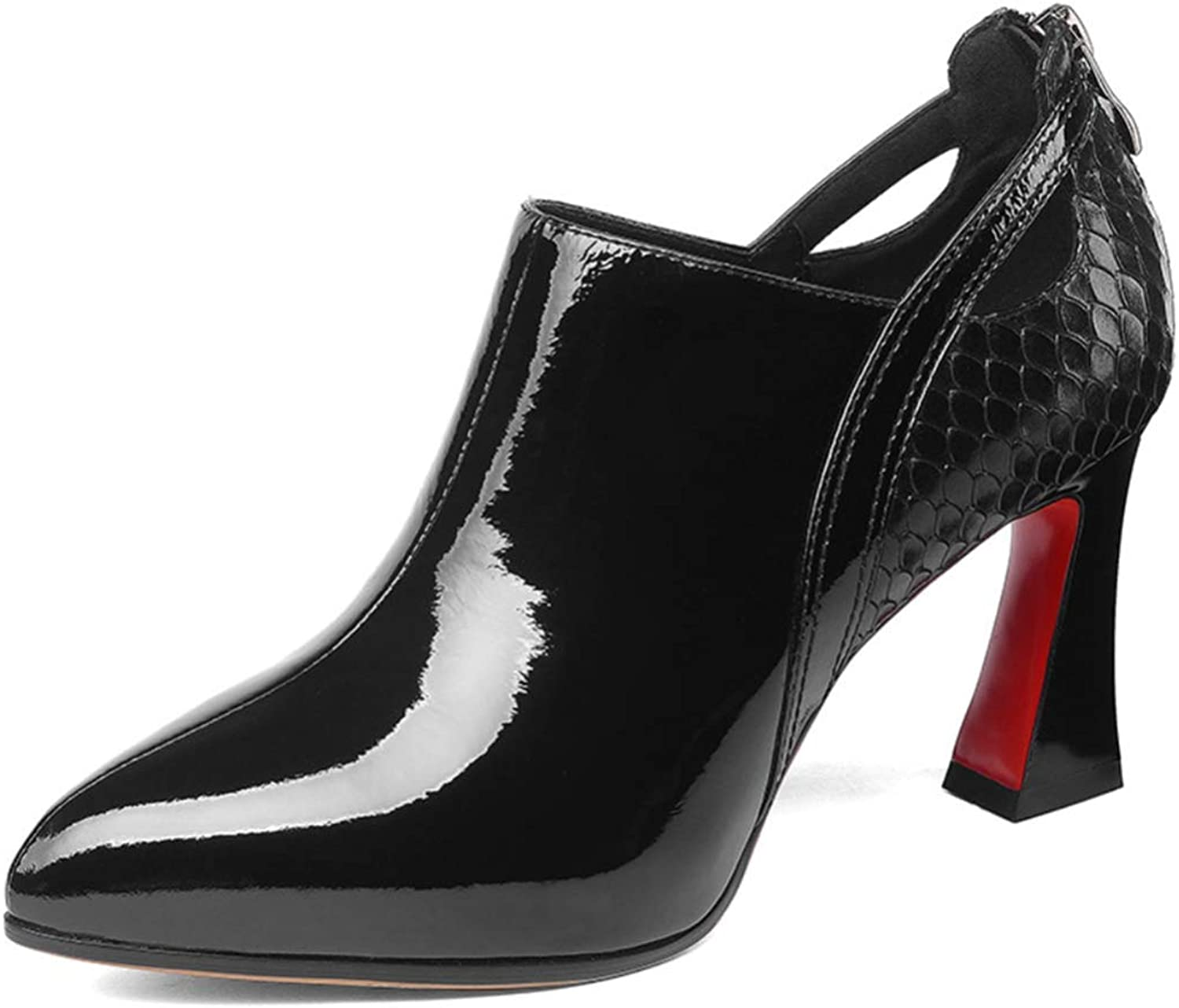 Shiney Wwomen's High-Heels Chunky Heel Single shoes Female Cow Patent Leather Pointed Zipper