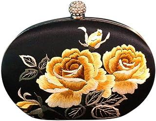 Damenmode Abendgaderobe Boho Chic Portmonnaie Umhängetasche Vintage Style Clutch mit Stickerei Clutch Seide Vintage Clutch...