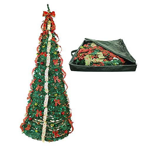 Christmas Tree Fully Decorated Dressed Pre-Lit 9 Ft Pull Up Pop Up with Storage Bag Includes Holiday Decorations, Ornaments, Pinecones, Stand and Warms Lights