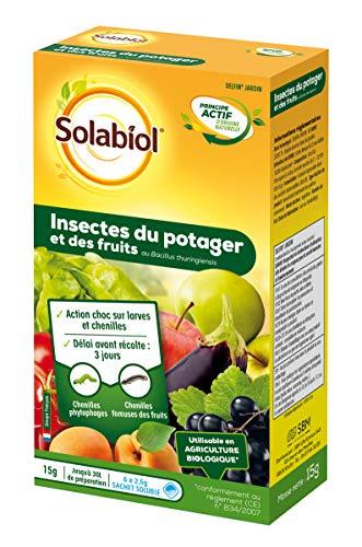 SOLABIOL SOBACI15 - Insetti, trattamento bacillus dei vermi di frutta e verdura, utilizzabile in agricoltura biologica, 6 bustine da 2,5 g