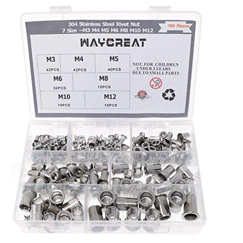 Waycreat 304 Nietmutter Edelstahl Sortiment,Rivet nut Nutsert Kit M3 M4 M5 M6 M8 M10 M12, 189-pack
