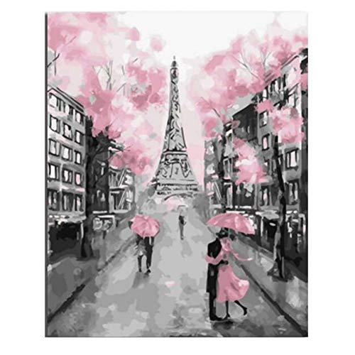 ZWBBO Canvas schilderij Decoratieve schilderijen Kleurplaten Door cijfers Verf Door Aantal Foto Roze Schilderij Kalligrafie Toren