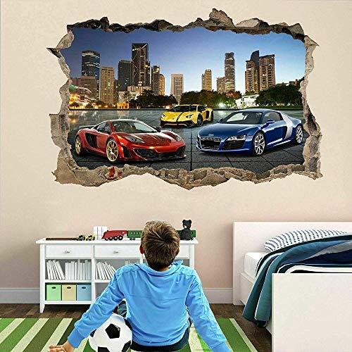 Pegatinas de pared Coches deportivos pegatinas de pared mural calcomanía cartel autoadhesivo impresión arte Póster Arte 3D Mural 50x70cm