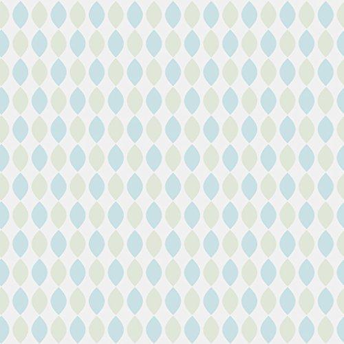 Reflections 5927 Vlies-Tapete 50er Retro-Motiv Mandelform Vertikal in Reihen in hellblau und hellolivgrün auf cremeweiß