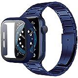 Miimall [1+1Piezzi Cinturino + PC Custodia per Apple Watch 40mm Ultra Sottile Cinghia in Acciaio Inossidabile Compatibile con Apple Watch SE Serie 6 Serie 5 Serie 4 Serie 3 Serie 2 Serie 1 -Blu