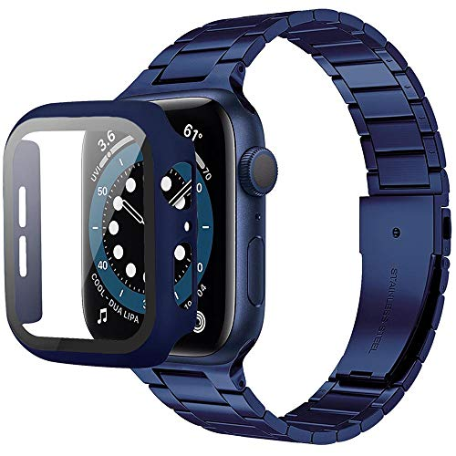 Miimall [1+1Piezzi Cinturino + PC Custodia per Apple Watch 44mm Ultra Sottile Cinghia in Acciaio Inossidabile Compatibile con Apple Watch SE Serie 6 Serie 5 Serie 4 Serie 3 Serie 2 Serie 1 -Blu