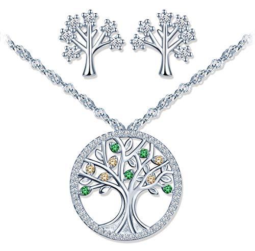 Conjuntos de joyas de plata 925, collar de árbol de la vida con circón verde, pendientes de árbol de la vida, circón con incrustaciones, regalo de Navidad y cumpleaños