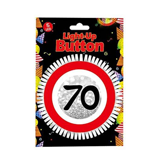 Udo Schmidt GmbH & Co LED Blink Button zum 70. mit 5 LED Geburtstag Geburtstags Dekoration Tischdeko Party Deko