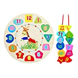 ZJL220 Reloj de madera para aprender pedagógico, ordenar, rompecabezas, juguete para niños pequeños