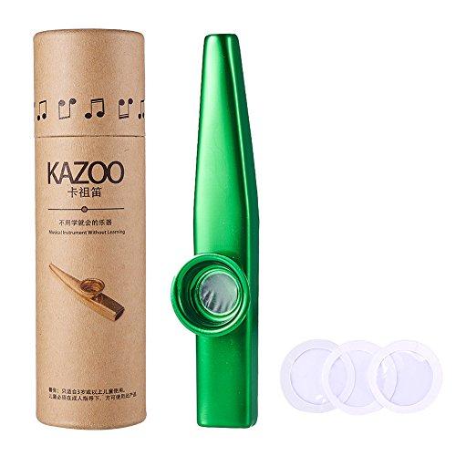 WANDIC Aluminiumlegierung Kazoo Und 3 Kazoo Membran Metall Kazoo mit Vintage Geschenkbox, grün