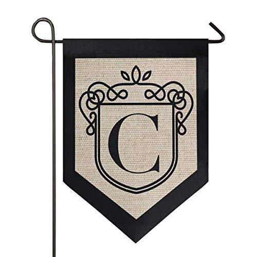 jenny-shop Klassische Monogramm Buchstabe C Gartenflagge doppelseitig 12,5 x 18 Zoll