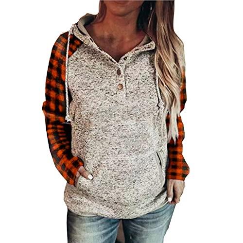 YULINGSTYLE Hauts d'hiver Sweat-Shirt à Capuche avec Poche à col boutonné et imprimé à Carreaux pour Femme