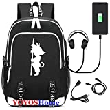 YOYOSHome Luminous Japanese Anime Cosplay Daypack Bookbag Laptop Bag Backpack School Bag with USB Charging Port (Dragon Ball Z 3)