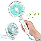 VersionTECH. Hand Held Fan Cooling,Portable Personal Electric Battery powered Fan for Desk Table with 3 Speeds,USB Mini Rechargeable Handheld Fan for Office Outdoor Sport Home Traveling Camping -White