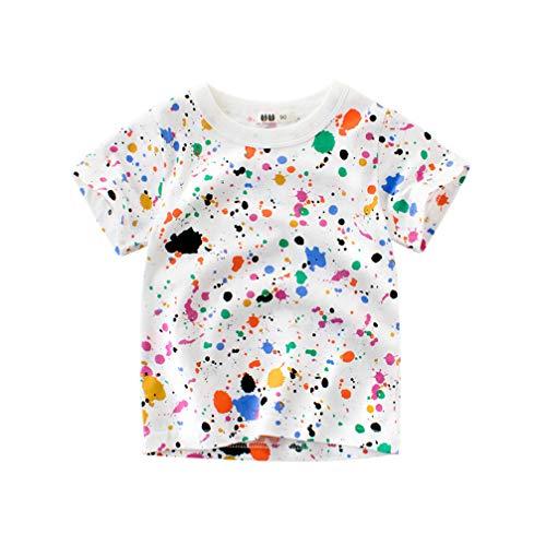 Unisex Baby T-Shirt Baumwolle Süß Karikatur Tier Muster Tops für 1-7 Jahre Alt (1-2 Jahre, Nicht-gerade Weiß)