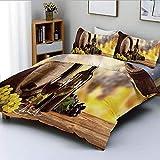 Juego de funda nórdica, vidrio de botella de vino tinto y blanco sobre barril de madera Sabor de calidad Decorativo tradicional Juego de cama de 3 piezas con 2 fundas de almohada, marrón verde claro a