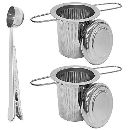 Filtros para té, PTN Colador para Té con Tapa de Acero Inoxidable 304, Asa Plegable y Colador de té de Gran Capacidad, para Tazas y Ollas de Cereales a Granel(2 Coladores de té + 1 Cuchara de té)
