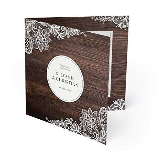 (10 x) Hochzeit Einladungskarten Rustikal mit weißer Spitze Einladungen Hochzeitskarten Holz