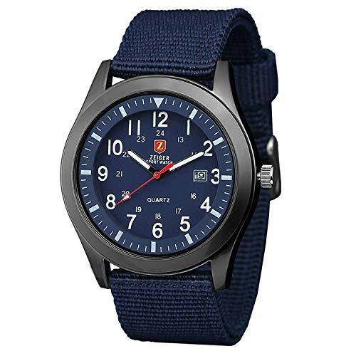 Herrenuhr ZEIGER Abenteuer Analog Quarz Herren Uhr Blau Sportuhr Datum Armbanduhr W284