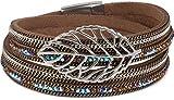 styleBREAKER Wickelarmband mit Strass und Ketten, Blatt Anhänger, Magnetverschluss, Armband, Damen 05040069, Farbe:Dunkelbraun