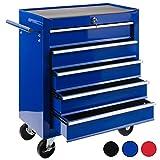 Arebos Werkstattwagen 5 Fächer/zentral abschließbar/Anti-Rutschbeschichtung/Räder mit Feststellbremse/Massives Metall/rot, blau oder schwarz (blau)