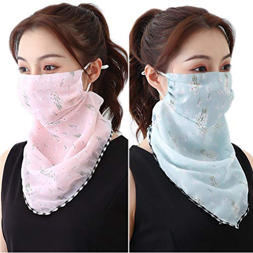 VIVIAN \& VINCENT 2 Pack of Women Sunscreen Cloth Face Mask Chiffon Scarf Neck Gaiter Lightweight UV Protection Bandana Pink and Blue Flower