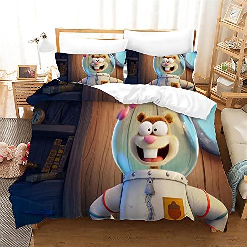 Funda Nordica Doble Spongebob Anime 220 X 240 Cm Ropa De Cama Microfibra Suave Cómodo para Adultos Y Infantil Juego De Sabanas 220X240 3 Piezas con Funda Almohada