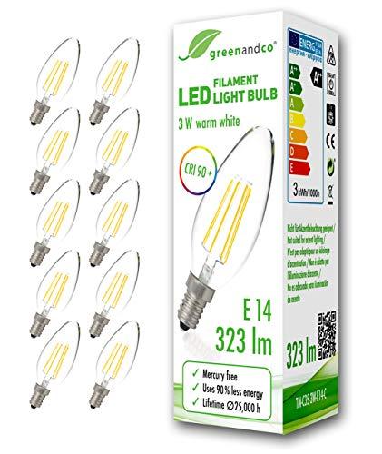10x greenandco® CRI90+ Glühfaden LED Lampe ersetzt 30 Watt E14 Kerze, 3W 323 Lumen 2700K warmweiß Filament Fadenlampe 360° 230V AC nur Glas, nicht dimmbar, flimmerfrei, 2 Jahre Garantie