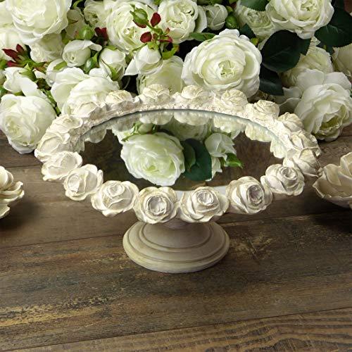 Alzata con Specchio Vintage Shabby Chic con Bordo di Rose Colore Avorio Anticato 24x18
