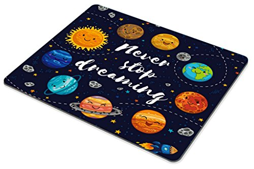 Smooffly Quotes Gaming Mouse Pad, Cute Outer Space Planets and Star Cluster Solar System Moon and Comets Sun Cosmos Illustration Mouse Pad, 9.5 X 7.9 Inches Photo #5