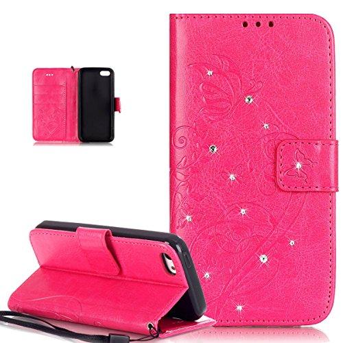 Kompatibel mit iPhone 5C Hülle,iPhone 5C Schutzhülle,Strass Glänzend Prägung Blumen Reben Schmetterling PU Lederhülle Handyhülle Taschen Flip Wallet Ständer Etui Schutzhülle für iPhone 5C,Rose Red