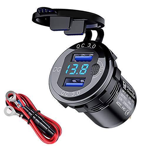 QC3.0 Schnellladegerät Dual-USB-Autoladebuchse mit Schaltknopf-Spannungsanzeige Geeignet für 12V/24V-Autos Boote Motorräder(Schwarz)