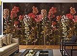 Carta da Parati 3d Murales da Parete Cespugli Di Fiori Rossi Vintage Fotomurali Parete Soggiorno Tv Sfondo Camera da Letto Decorazione Murale 250x175cm