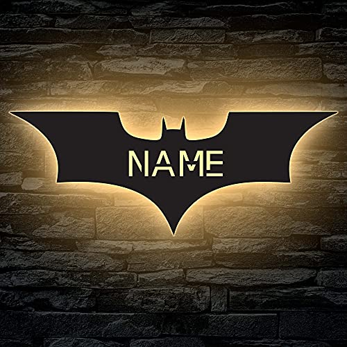 LED Deko Schlummerlicht Nachtlicht Batman Fledermaus, personalisiert mit Wunsch Namen Lasergravur Abendlicht Kinderzimmer Wohnzimmer Geschenk