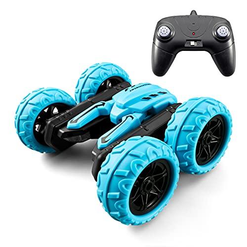 Coche teledirigido 2.4G 4WD de carreras de doble cara giratorio 360 ° giratorio con música LED, regalo para niños de 6 a 12 años