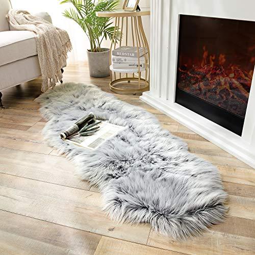 Ashler Soft Faux Sheepskin Fur Chair Couch Cover Area Rug Bedroom Floor Sofa Living Room Coal Black 2 x 6 Feet