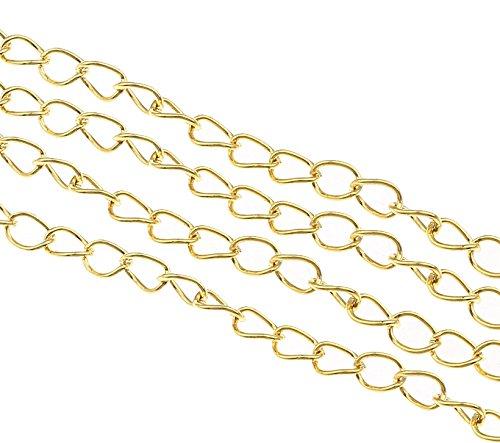 Perlin - 9 Meter Gliederkette Link Kette Metallkette Twist Panzerkette 5,5mm Silber, Gold, Kupfer, Altsilber Schmuckkette Meterware zur Schmuckherstellung von Halsketten Armband DIY Basteln (Gold)