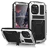 Funda para iPhone 13/13 Pro/13 Pro Max/13 Mini, Metal Aluminio Cover Extreme Alta Resistencia Protector Shockproof Military Heavy Duty Carcasa,Silver,iPhone 13